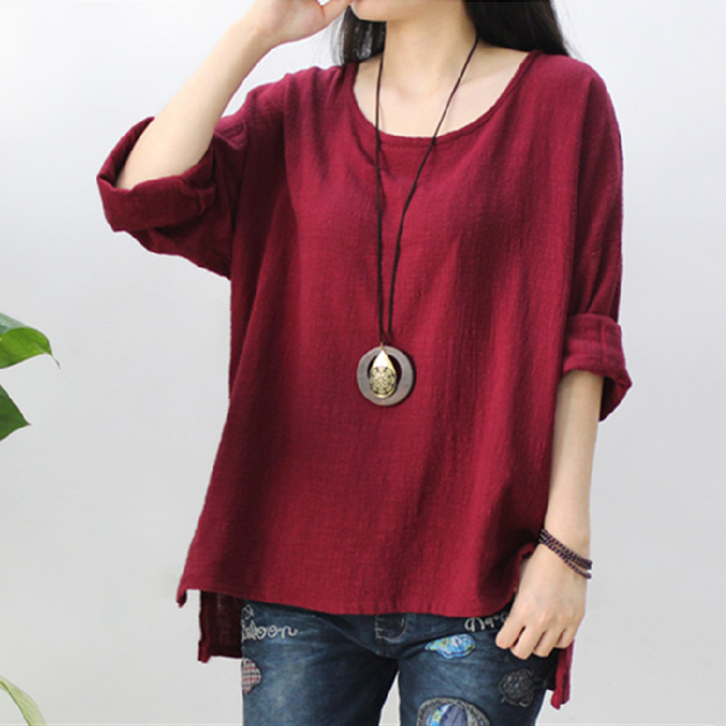 Round Neck Summer Tops 2018 Summer Cotton Linen Oversized Tee Shirts For Wome Half Sleeve Ladies Vintage Blouse Femme