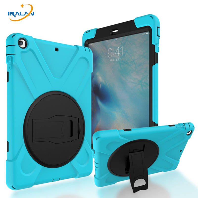 2017 Hot Kids Silicone Duty Hard Case For Apple iPad 5 Durable Rugged Heavy kickstand Protector Cover For iPad Air 1+film+stylus hot case for ipad 5 cover shockproof kids protector case for apple ipad air case air1 cover pc silicone hybrid robot stylus pen