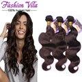 7A cabelo virgem indiano corpo onda 3 ofertas bundle Dark Brown tecer humano indiano cru cabelo indiano da onda do corpo extensões de cabelo Humano 2 #