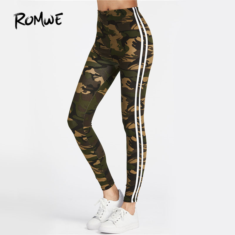 ROMWE Camo Fitness Leggings 2019 Women Striped Side Workout Legging Top Quality Fashion New Casual Skinny High Waist Leggings