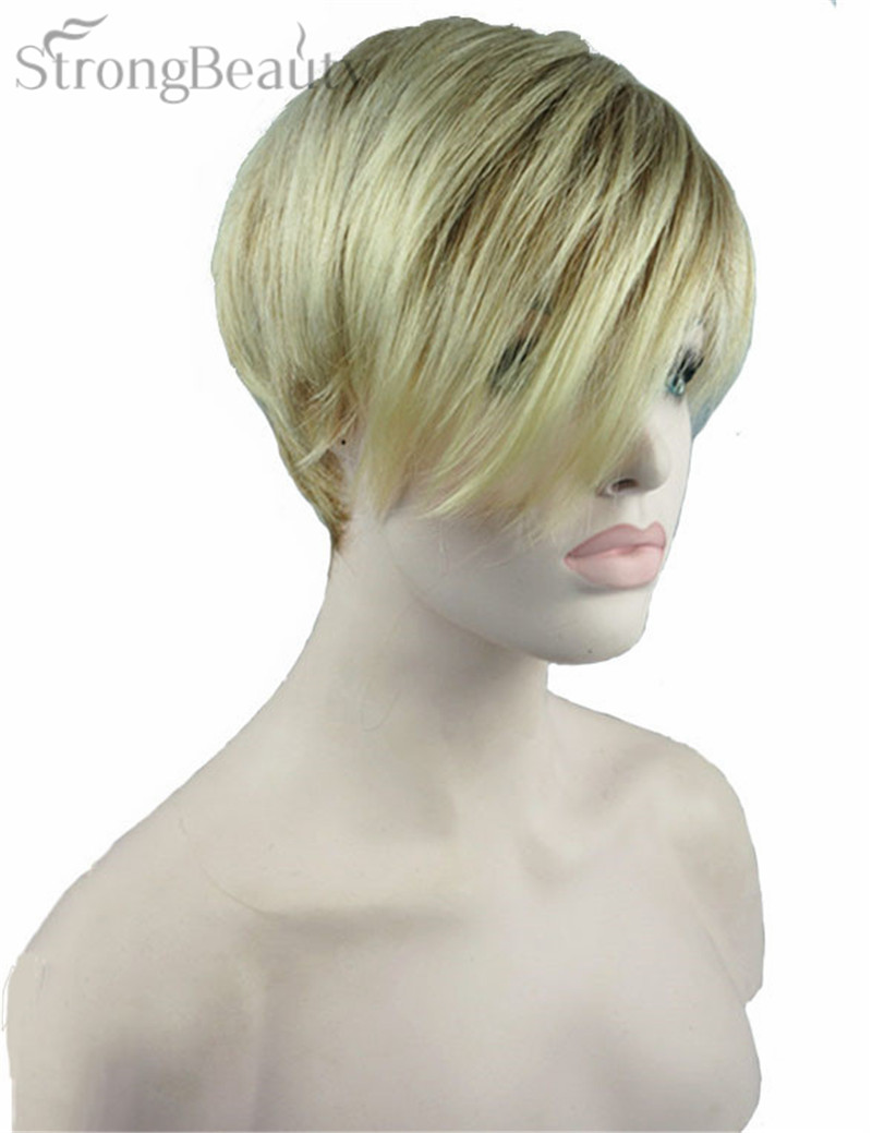 Strong Beauty Women Short Straight Wig Synthetic Capless Wigs