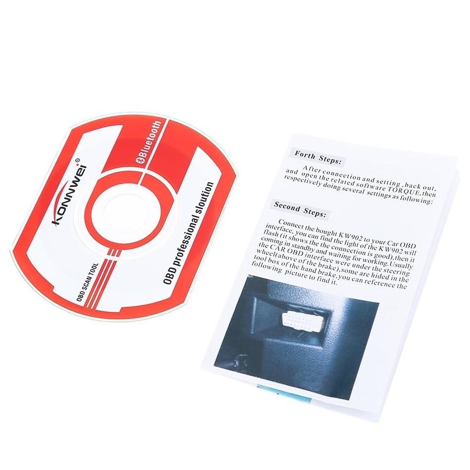 3pcs Konnwei KW902 Mini ELM327 Bluetooth KW902 OBDII Car Auto Diagnostic Scan Tools Automotive Car Scanner Wireless Connection