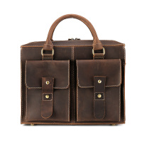 Nature Leather Document Bag Real Cowhide Retro Filing Products Business Supplies Office Supplies 37*28*9 cm