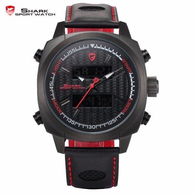 Silvertip Generation Shark Sport Watches Black Case Red Men Dual Date Alarm Stop Quartz Leather Digital Waterproof Watch / SH493