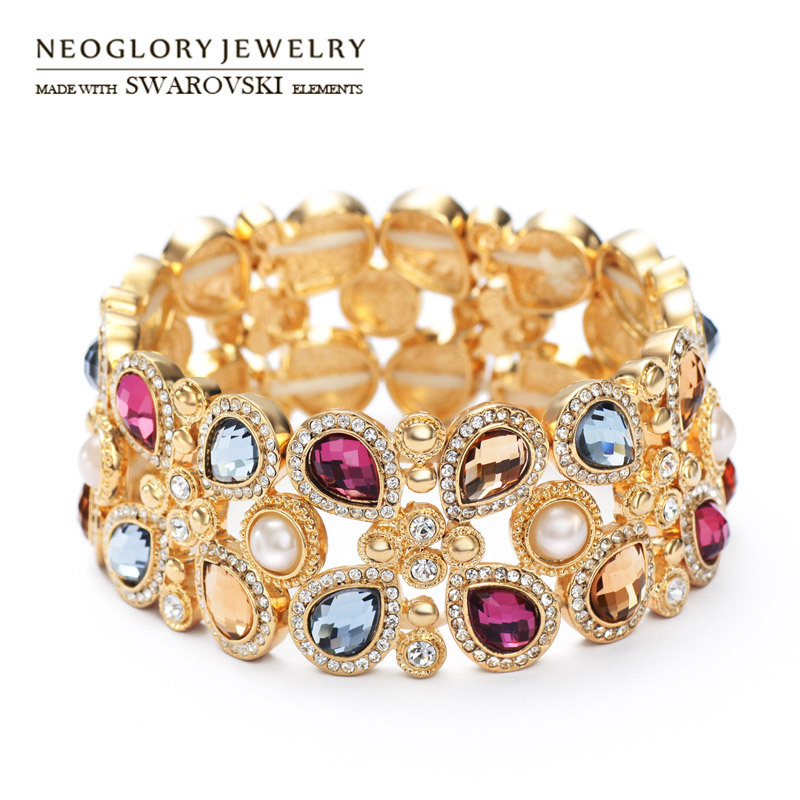 Neoglory Austria Rhinestone & Glass & Simulated Pearl Bracelet Luxurious Colorful Design For Women Exquisite Bangle Classic Gift sweet rhinestone and faux pearl embellished floral double layered bracelet for women