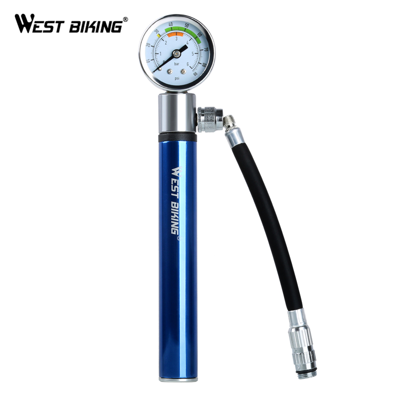 WEST BIKING Bicycle Mini Pressure Pump Ultralight Fit For Presta Schrader Valve Portable Pump Bike Cycling Inflator Air Pumps