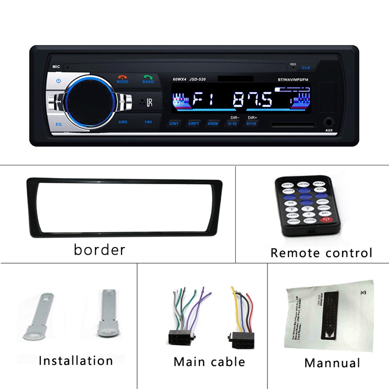 Automagnitol JSD 520 Auto stéréo 1 autoradio 12 V Bluetooth V2.0 FM récepteur d'entrée Aux voiture Audio SD USB MP3 MMC WMA