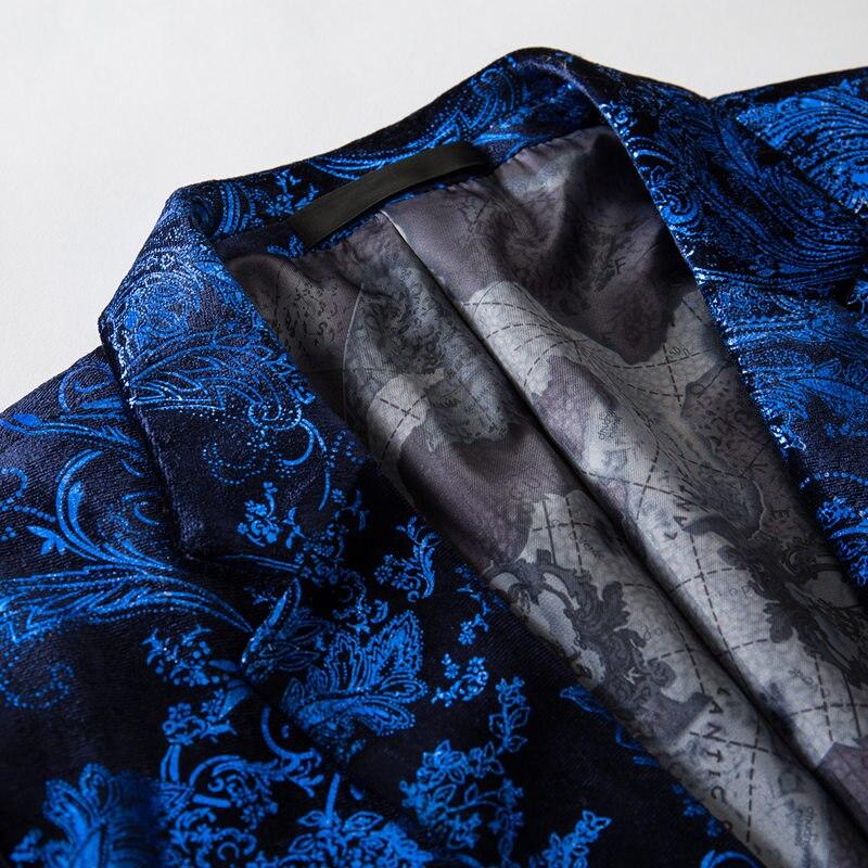 cc0b7b54aa952 Burgundy Red Floral Blazer Men Print Paisley Pattern Wedding Stage Suit  Jacket Royal Blue Velvet Blazer Slim Fit Plus Size M-4XL