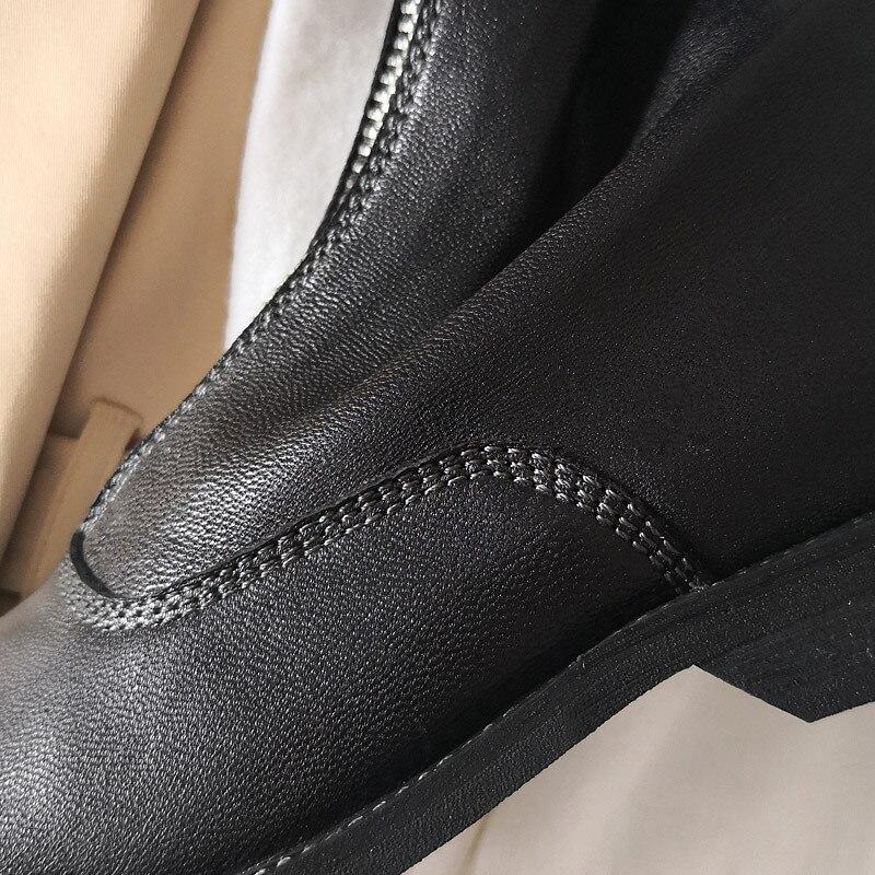 Zapatos Nueva De Negro Mujer Cortas Botas Moda Ins Flats Mujeres Show Feminina Tobillo Señoras Cremallera Acogedor Bota Caliente Show Ronda As Toe as Blanco U8E84wx