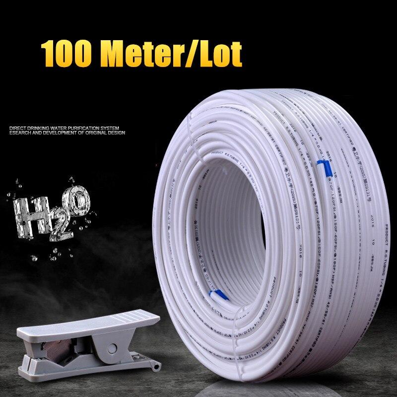 White Flexible 1/4 inch Tube Hose PE Pipe For RO Water Filter System Aquarium PE Reverse Osmosis 100 Meter