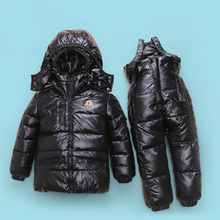 Russian winter suits for girls thick warm snowsuits boys ski suits snow jacket + Overall pants 2 pcs set -30 degree