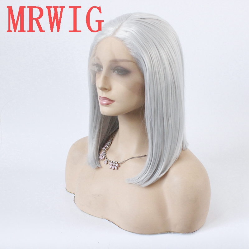 Image 3 - MRWIG silver gray short bob straight glueless front lace wig middle part 12in 150%density grey hair color wig-in Synthetic None-Lace  Wigs from Hair Extensions & Wigs