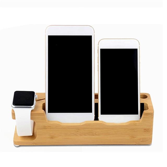 Univere Multifunktions Holz Desktop Handyhalter Usb Ladestation Halter Für Iwatch Iphone Smartphone Tablet
