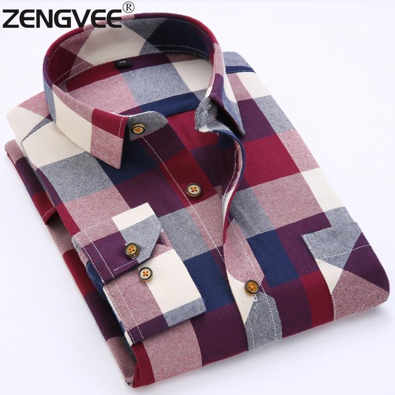 61d36d8a5f1ff Men Shirt Autumn Classic Flannel Men Plaid Shirt Long Sleeve Men's ...