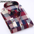 Men Shirt Autumn Classic Flannel Men Plaid Shirt Long Sleeve Men's Warm Casual Shirts Cotton Mens Shirt