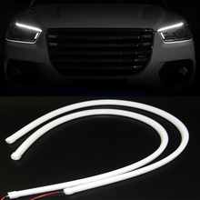 2pcs 60cm White Flexible DRL Car Daytime Running Light Soft Tube Angle Eyes LED Strip for Headlight Assembly