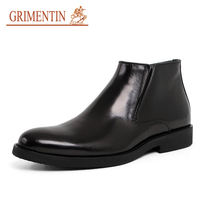 GRIMENTIN меха ботильоны мужские итальянский дизайнер 2018 новые оригинальные leaher черная Свадебная обувь в деловом стиле для Зимняя мужская обув
