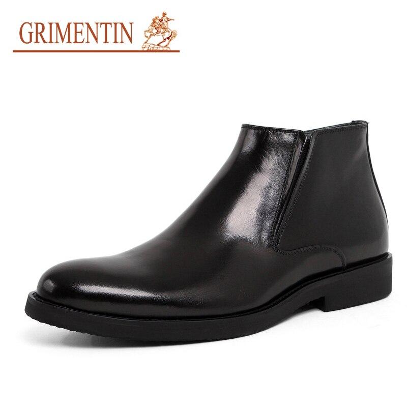 GRIMENTIN fourrure bottine hommes designer italien 2019 nouveau véritable leaher noir mariage affaires chaussures pour hiver homme chaussures