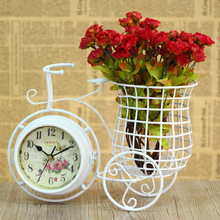 European pastoral style white iron art bicycle mute desk clock with penholder double sided table clock home decoration