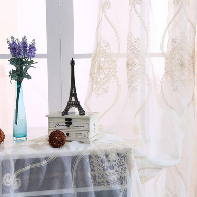 Elegant Embroidered Curtains For Living Room Cotton Linen Beige Floral  Knitted Window Tulle Curtain Home Textile