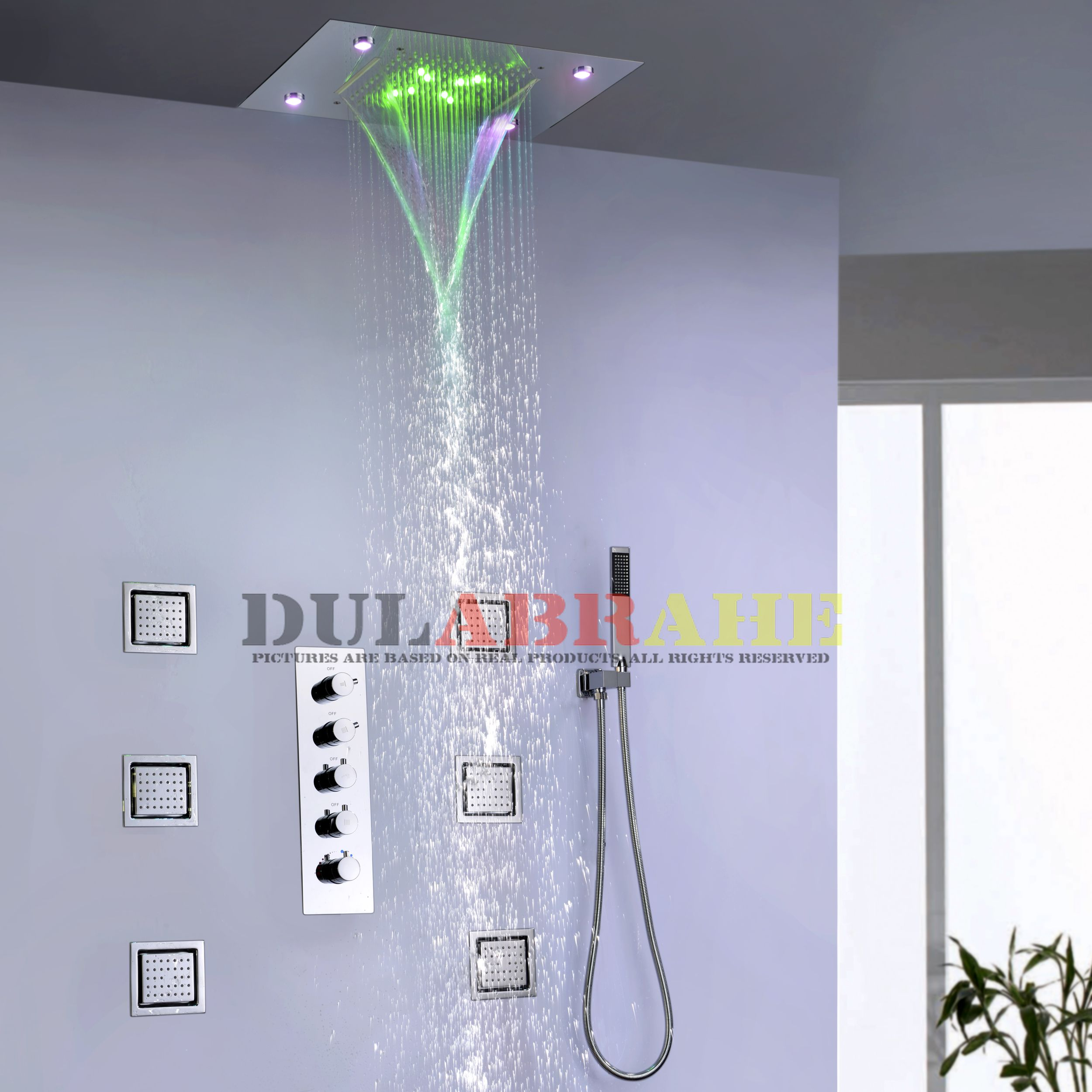 Us 558 0 Thermostatic Bath Mixer Bathroom Rain Shower Faucet Set Waterfall Shower System Ceiling Led Shower Head In Shower Faucets From Home