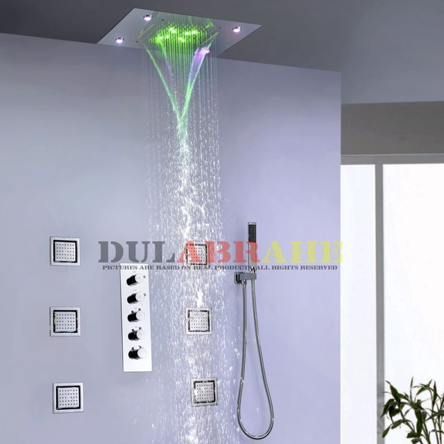 Thermostatic Bath Mixer Bathroom Rain Shower Faucet Set Waterfall Shower System Ceiling LED Shower Head
