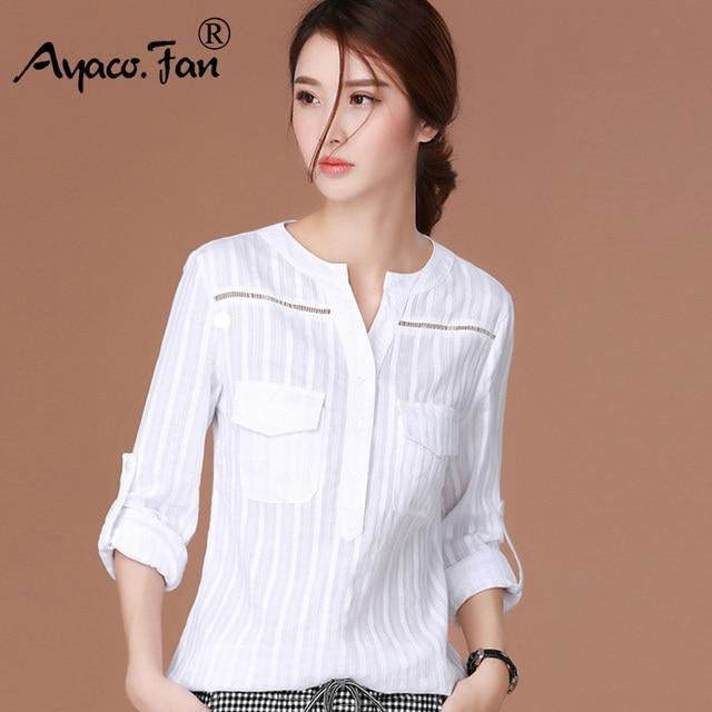32f1c53f50 2018 Nova Primavera Blusas Femininas Artigo Camisas Camisa de Manga Longa  Roupas Femininas Blusa Branca Plus