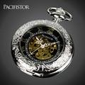 Mens Pacifistor Mecânico Esqueleto Relógios de Bolso Fob Relógios Reloj de Bolsillo Colar Relógios Pingente Corrente de Prata Do Vintage
