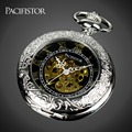 Pacifistor Mens Mechanical Skeleton Pocket Watches Vintage Reloj Bolsillo Necklace Watches Silver Chain Pendant Fob Watches