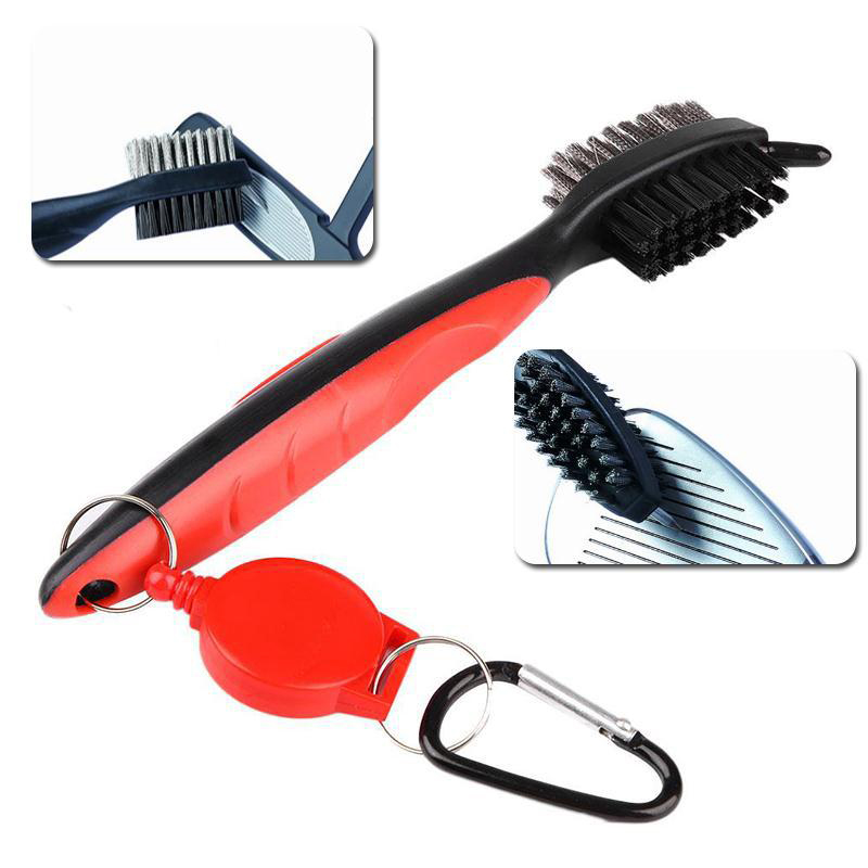 Golf Club Brush Cleaner Ball Cleaning Clip Groove Double Sided With Spike Kit Accessories FI-19ING