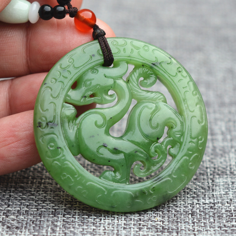 все цены на (Certificate) Natural Green HETIAN Nephrite Pendant 3D Carved Dragon Pixiu Jades Pendant Necklace Men's fashion Jades Jewelry
