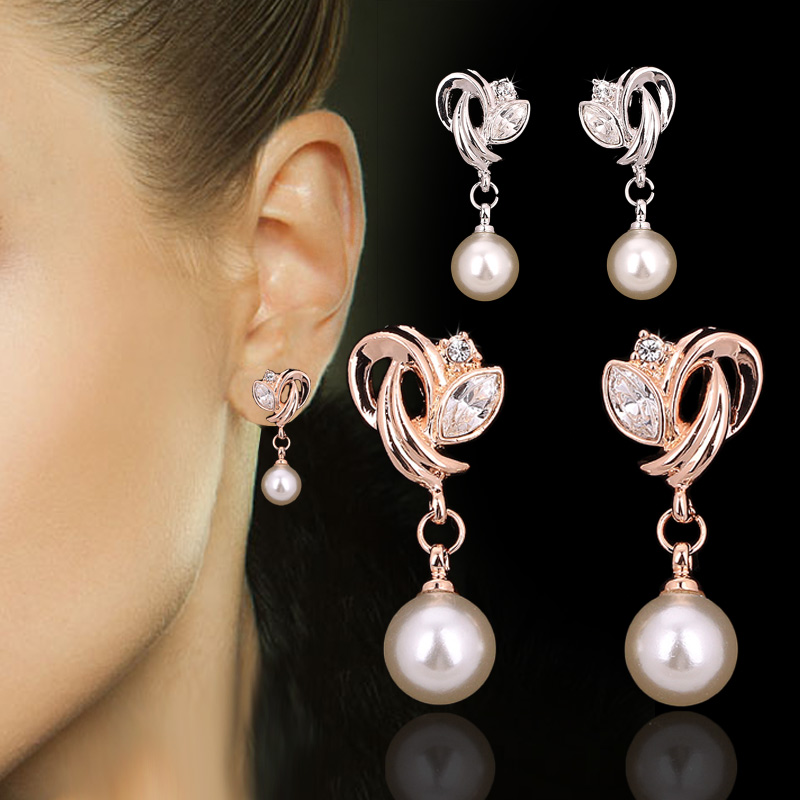 Drop/Dangle-Earrings Simulated-Pearl-Beads Double-Fair Cubic-Zirconia Women Jewelry Rose-Gold/silver-Color