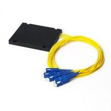 높은 품질 sc upc plc 1x4 광섬유 분배기 상자 sc upc conector plc 1x4 단일 모드 abs 광학 커플러 무료 배송