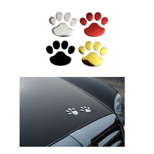Auto Sticker Cool Design Poot 3D Dier Hond Kat Beer Voet Prints Voetafdruk 3 M Decal Auto Stickers Zilver Goud rood(China)