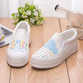 Multi Color New Flats Womens Platform Shoes 2017 Breathable Hand Paint Canvas Shoes Slip on Women Loafers Thick Heel Espadrilles