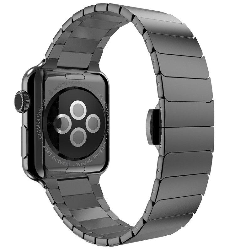 Prix pour 42 MM/38 MM Lien Bracelet Pour Apple Watch Bande Bracelet En Acier Inoxydable Avec Fermoir Papillon 4 Couleurs