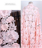 High Quality Heavy Embroidered 3d Flowers Lace Fabric Pink Sky Blue Off White Thick Autumn Winter