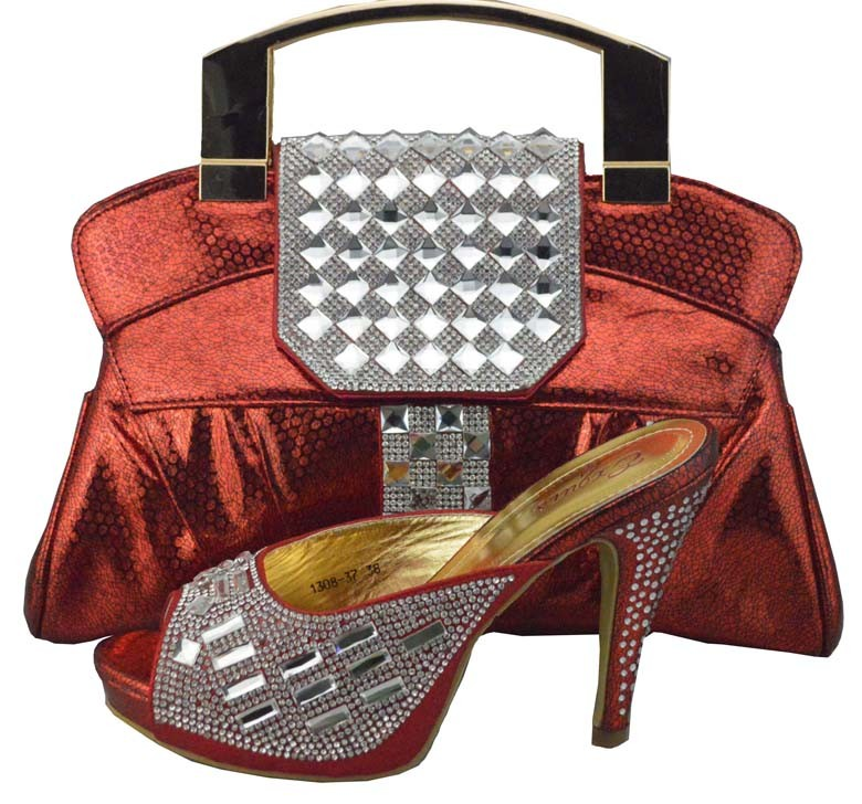 ФОТО 2017 New Arrival Italian Shoes With Matching Bags High Quality African Women Shoes And Bags Set With Stones For Party 1308-37