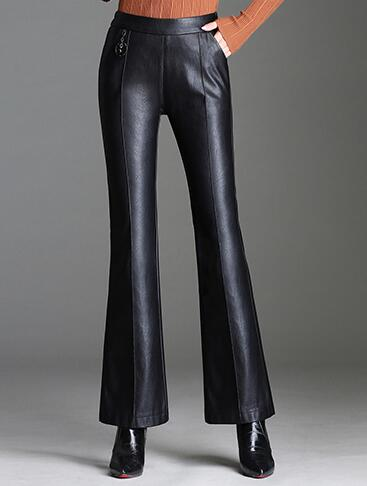 Zaz0801 Capris Cuir Mode Femmes Haute Faux Pu Nouvelle Taille Pantalon Flare Plus Ealstic Noir Casual Pour Minceur RtA7azSq