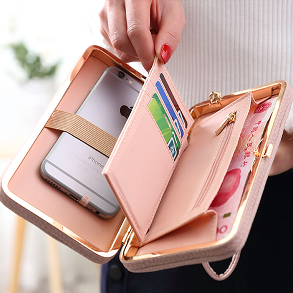 3.5~5.7 inch Universal Phone Bag Luxury Women Wallet Pink Phone Case For IPhone 7 6 6S 5 5S SE Plus Case PU Leather Cover