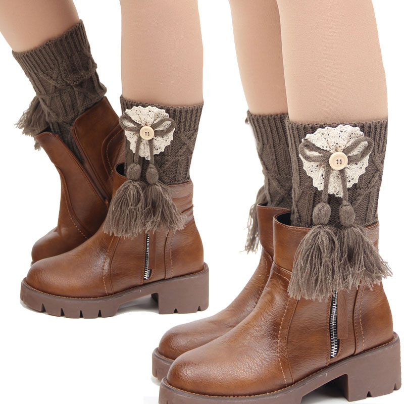 2017 Fashion Lady Winter Boot Toppers Knitted Leg Warmers For Women
