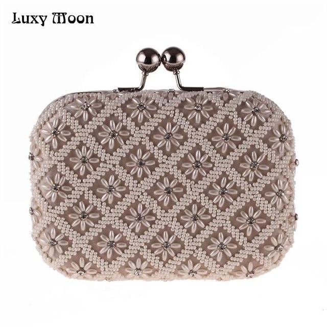445e8bb1e Luxy Lua Pérolas Sacos de Noite Frisado embreagem Casamento saco Nupcial  Bolsa Bolsas carteira Pequenas das