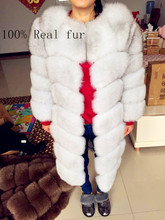 Real fur 2016fox fur vest is 90 cm long coat sleeves design women free shipping