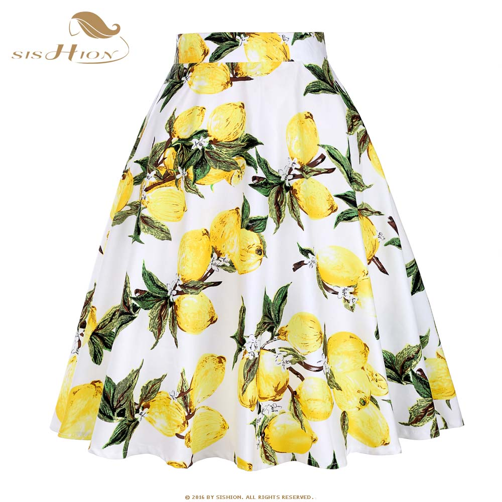 SISHION Fruit Print Lemon Skirt White And Yellow Cotton Summer Knee Length Swing 50s Vintage Skirts Bottoms Pleated Skirt