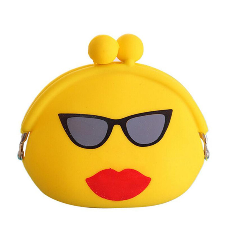 Lovely Women coin pocket Cartoon Emoji Silicone Jelly Wallet Change Bag Key Pouch Coin Purse Gifts
