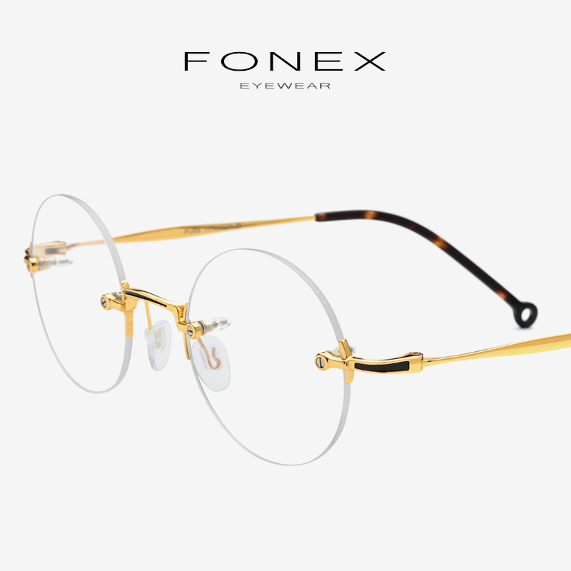 Pure Titanium Eyeglasses Frame Men New Retro Vintage Round Prescription Rimless Optical Glasses Women Myopia Korean