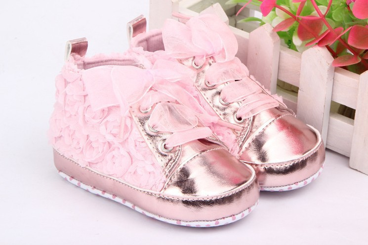 ФОТО baby shoes girls toddler soft sole pink rose flowers children shoes infant lace shoes