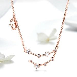 Image 3 - MYBEBOA authentique réel 925 argent Sterling Libr Gemini capricorne scorpion 12 Constellation cristal Taurus pendentif colliers femmes