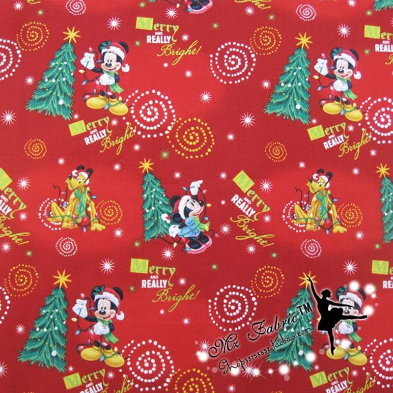 """110 * 50cm1pc kalėdinis audinys 100% medvilnės audinys Kalėdinis Mickey atspausdintas audinys Patchwork Telas """"pasidaryk pats"""" siuvimo moteriškos suknelės dygsniavimas"""