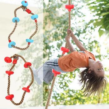 Bezpieczeństwo dzieci lina wspinaczkowa gra na świeżym powietrzu zabawa fitness sportowy wiszący dysk liny marynarz liny wspinaczka PP skakanka dla dzieci Sport tanie i dobre opinie Z tworzywa sztucznego 8 lat Other Climbing Rope OUTDOOR Zapas rzeczy Plastic 11*3 8cm 4 3*1 5in 2m 6 6ft 150 kg Red Blue